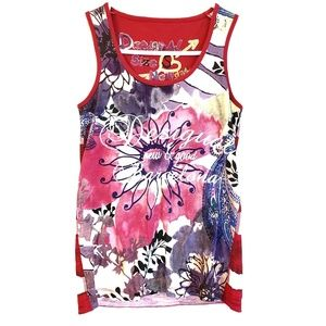 Desigual New and Good Floral and Striped Tank Top